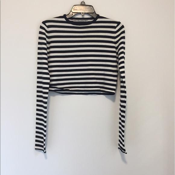 26b5c416 Zara Sweaters   Knit Striped Crop Top Sweater Bw Small   Poshmark