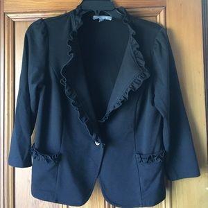 NY Collection Jackets & Blazers - Black Ruffled Blazer
