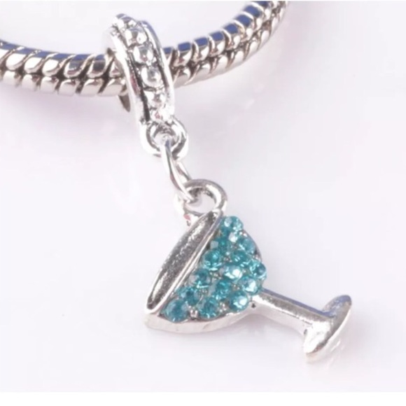 79 pandora jewelry sparkly aqua martini glass