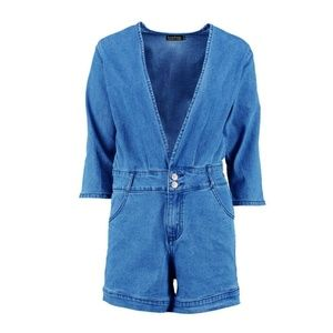 c69173668d5 Boohoo Jeans - Burney 3 4 Sleeve Plunge Front Denim Playsuit