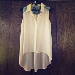 Chloe K Tops - White high low tank with lace detail