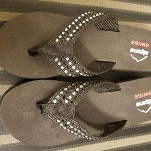Alpine Swiss Shoes - Brand New Alpine Wedge Flip Flops
