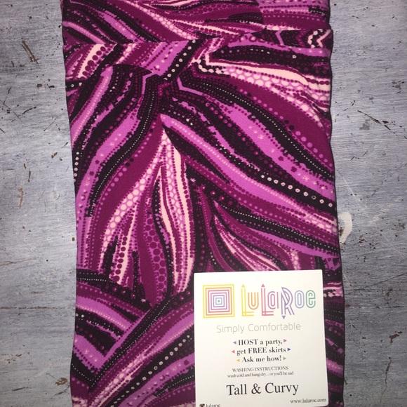 07ff3027374e3 LuLaRoe Pants | Tc 1222 Purple Black Ribbon Leggings Nwt | Poshmark