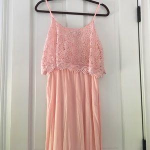 Francesca's Collections Dresses & Skirts - Francesca's Pink Crocheted Maxi Dress