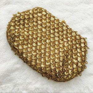 Handbags - 14k Gold Beaded Evening Clutch or Shoulder Bag