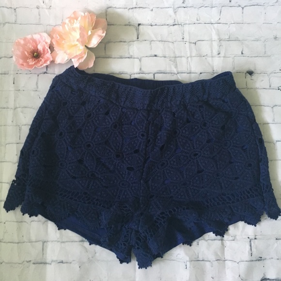 Francesca's Collections Pants - Navy Lace Crochet Scalloped Soft Shorts
