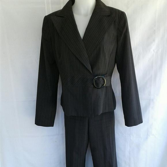 Isabella Suits Dresses Isabella Black Pinstripe Womens Career Pant