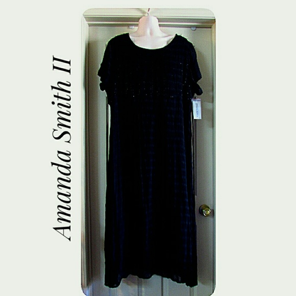 Amanda Smith Dresses & Skirts - BBW Amanda Smith II NWT'S Beaded Navy Dress 2X