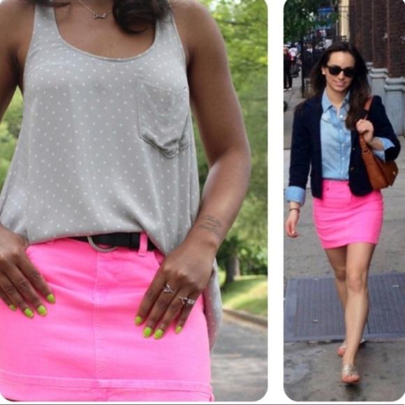 a87a9e4195 J. Crew Dresses & Skirts - J.Crew Neon Pink Denim Mini Skirt
