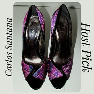 HOST PICK*Carlos Purple Paisley Peep Toe Pumps