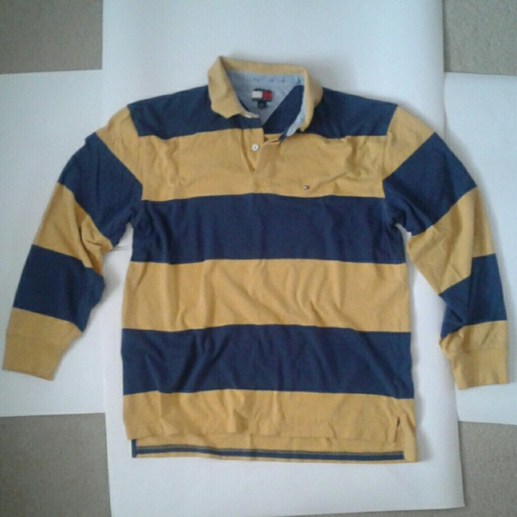 e218ddfb Tommy Hilfiger Shirts | Long Sleeve Blue And Yellow Striped Rugby ...