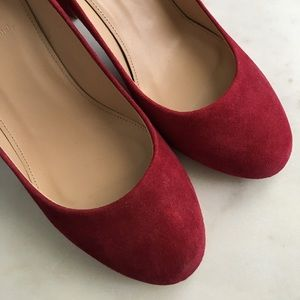 J.Crew Etta suede pumps in red
