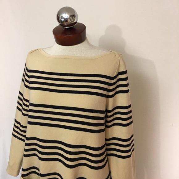 J. Crew Sweaters - J CREW boatneck popover stripe pockets