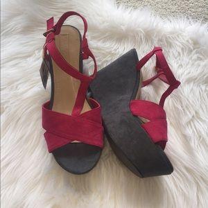 Zara T strap wedge sandals. Size 7
