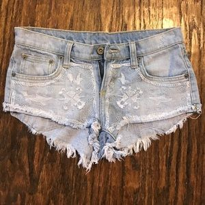 Carmar Pants - Distressed Embroidered Carmar Denim Shorts