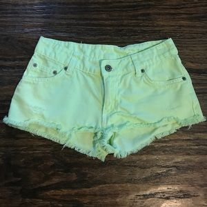 Carmar Pants - Yellow/Green Distressed Carmar Denim Shorts