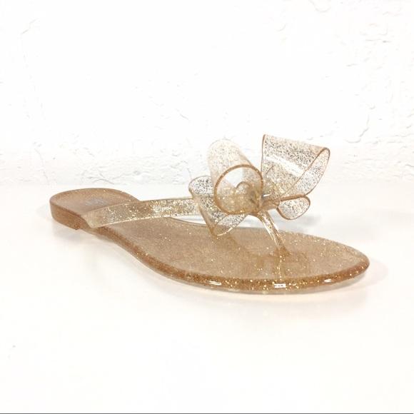 e28412a5871d Maker s Shoes Clear Gold Jelly Flip Flops