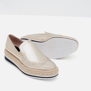 ZARA GOLDEN PLATFORM LOAFERS