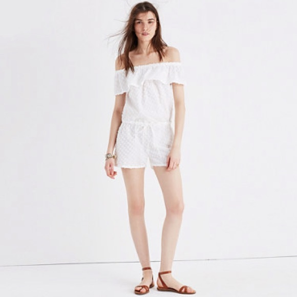 97bbe83c918 Madewell White Off-the-Shoulder Cover-Up Romper