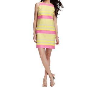 Loft yellow & pink striped shift dress