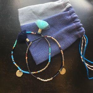 Fringe and seed bead friendship bracelet set