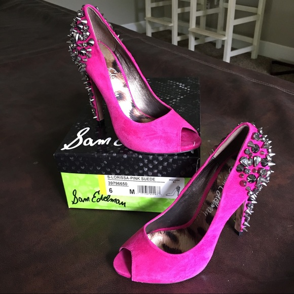 b7dd6a21ff9e3f Sam Edelman Lorissa pink suede spiked heels size 6.  M 59417d2af739bcad93026308