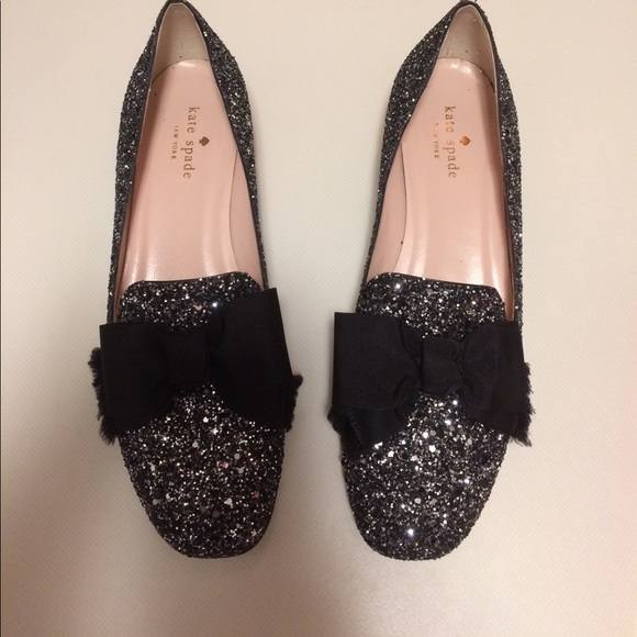 2cc2a4457c29 kate spade Shoes - Kate Spade Gino Glitter Bow Loafers 8