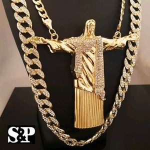 Big Jesus Body Pendant & Full Iced cuban necklace