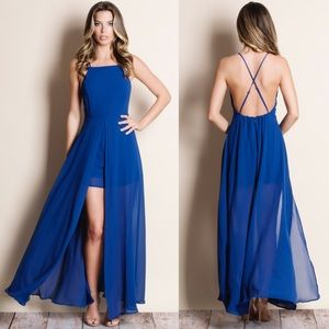 Royal Blue Crossback Maxi Romper