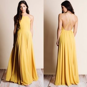 Mustard Crossback Chiffon Maxi Dress