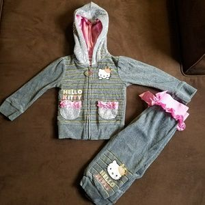 Other - Toddler Girl Glitzy Hello Kitty Hooded Sweatsuit