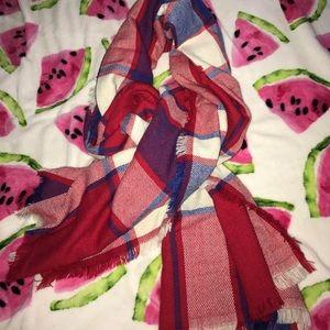 Plaid blanket scarf.