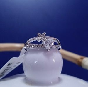 Jewelry - Silver Plated Heart clover Crystal ring