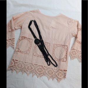 Endless Rose Tops - $29 Endelesss Rose pink crochet top S