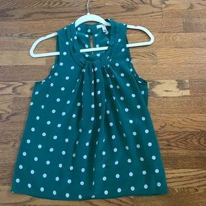 J. Crew Tops - J. Crew green polka dot silk blouse size 4 EUC