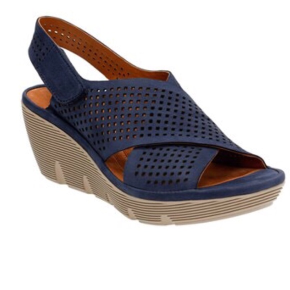 3d2045d02c Clarks Shoes   Clarene Award Navy Nubuck Leather Wedge Nwt   Poshmark