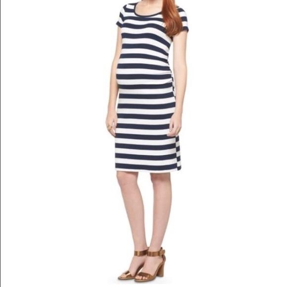 495b4af118df1 Liz Lange Dresses & Skirts - Liz Lange Maternity Navy/White Striped Dress -  M