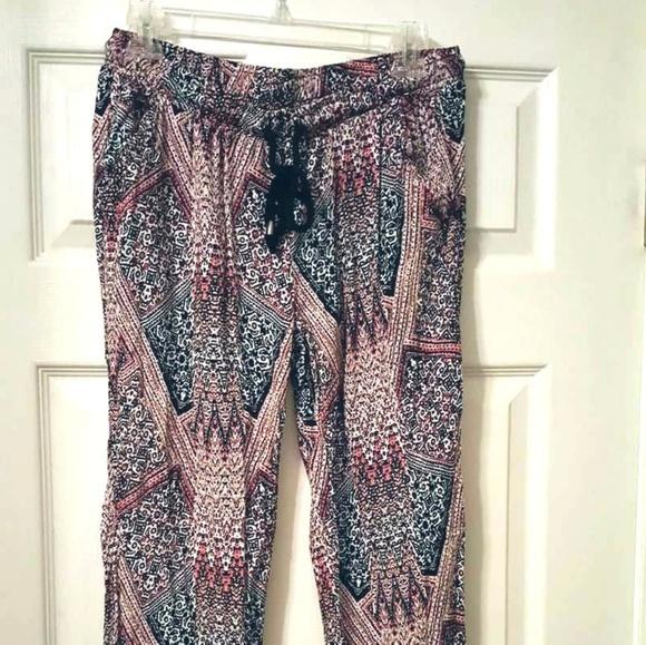 Boho tribal aztec print fabric pants