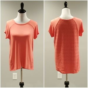 Loveappella Tops - Loveappella Haza Crochet Back Knit Top | Size M