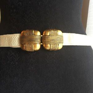 Vintage Accessories - 🌜 Vintage beige and gold belt 🌛