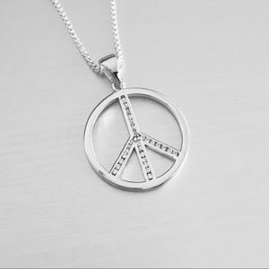 Jewelry - Sterling Silver CZ Peace ✌️ Necklace