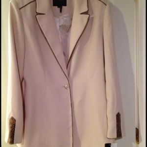 Beige tan suit coat jacket animal print