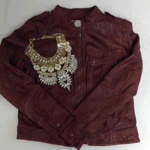 HINGE raisin brown leather jacket size M