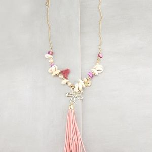 Pink Shell and Leather Tassel Necklace