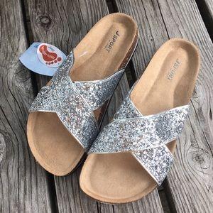 Jambu Shoes - 🆕List! J-Sport Glitter Leather Cork Slides! NEW!