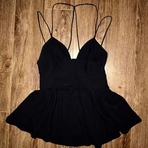 Sexy strappy open-back peplum top