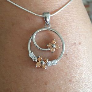 Jewelry - Sterling Silver Champagne CZ Flower 🌺 Necklace