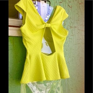 Hot Ginger Tops - NEON Acid Green Peplum Cutout Bow Top