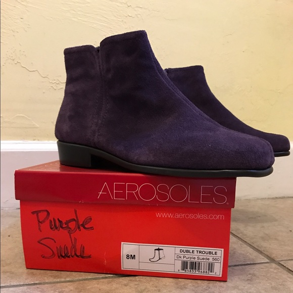 e04123377 Purple Suede Aerosoles 'Duble Trouble' Ankle Boots.  M_59419a38522b45f6440010f8