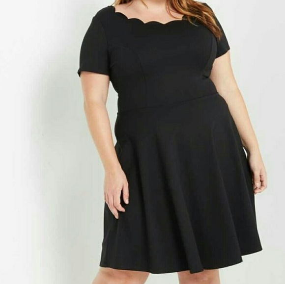 Black Scalloped Fit And Flare Dress Plus Size Boutique